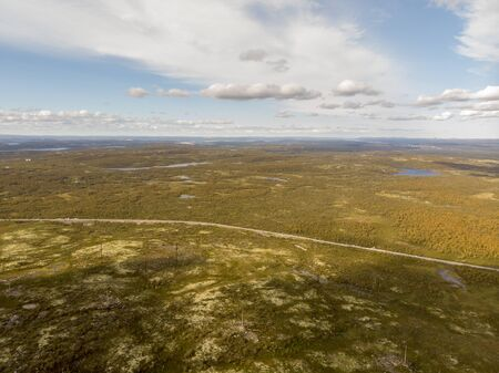 View of the tundra from the air with the drone