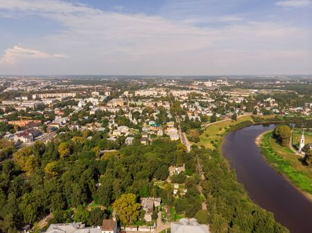 View of the city from the drone