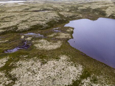 View of the lake in the tundra with drone Stock Photo