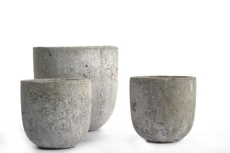 Concrete cement gray pots, pottery, authentic handmade 版權商用圖片