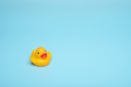 Yellow rubber toy waterfowl on a blue background. Save your space, the concept of the pool and relaxation.