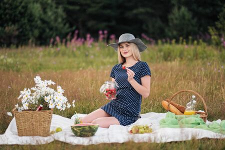 Young attractive woman in a blue dress at an outdoor picnic. A basket with daisies, watermelon, strawberries and a glass of lemonade. The concept of summer outdoor recreation. Standard-Bild