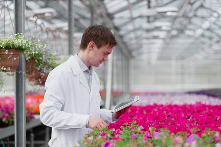 A young man in a white coat, a scientist biologist or agronomist examines and analyzes the flowers and green plants in the greenhouse. Writes data to the tablet.