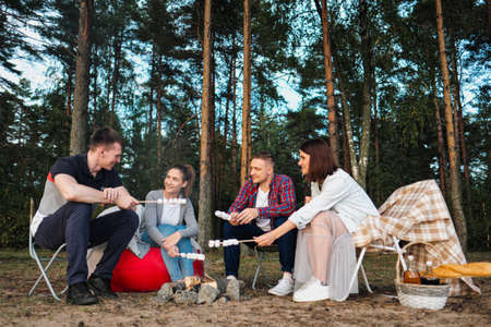 A group of friends relax in a forest camp. Men and women prepare a marshmallow on a bonfire. They talk, smile and laugh. A party in nature.