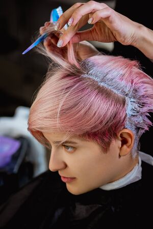 Hairdresser colorist dyes the hair of a woman to a client in different colors. The concept of a hair salon. Stock Photo