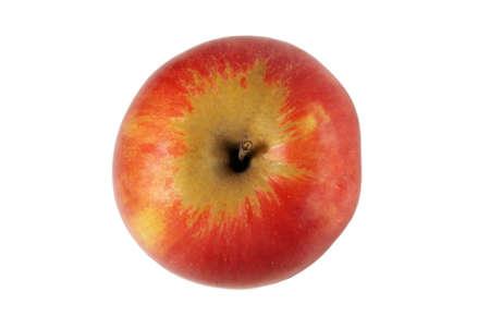 manzana roja: Dos galletas en un fondo Vista superior blanco