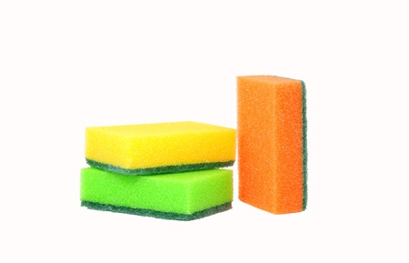 three sponges for washing dishes, standing upright  Two lie horizontally, one vertically standing  Stock Photo - 14810252
