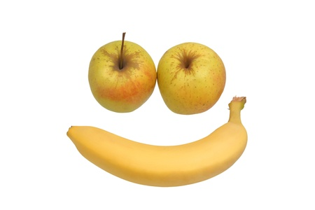 two apples and a banana in the shape of the face                                photo