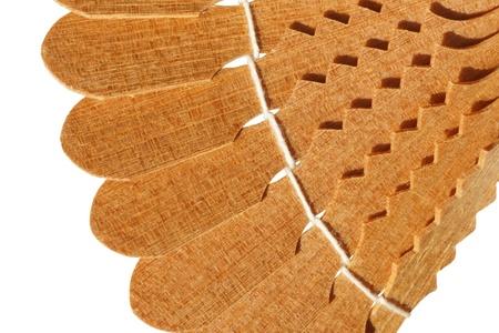 wood products: pezzo decorativo di prodotti in legno. isolato Archivio Fotografico