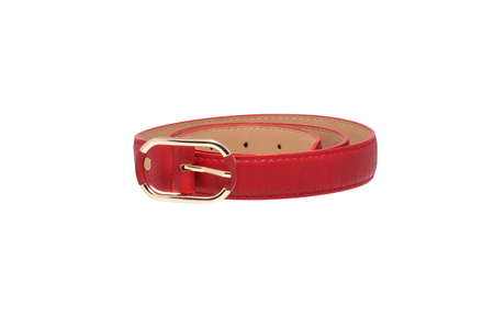 trouser: Folded red trouser belt. Isolated on white.
