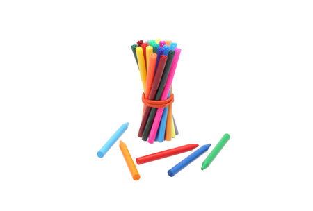bonded: Bonded rubber band markers and pencils. Isolated on white.