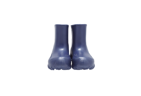 footwear: Waterproof footwear. Blue boots. Isolated on white.