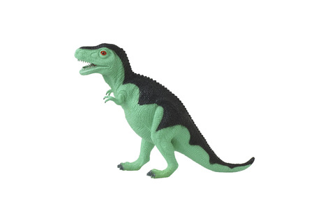 toy story: Toy green dinosaur Tyrannosaurus. Isolated on white.