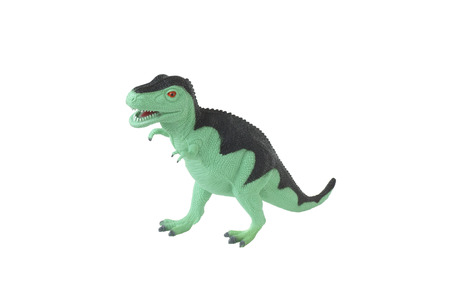 editorial: Toy green dinosaur Tyrannosaurus. Isolated on white.