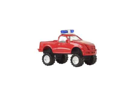 flashing light: Toy car with a flashing light. Isolated on white.