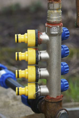 power operated: Elements of Garden aqueduct. Close-up.