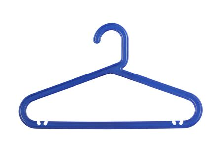 Blue plastic clothes hanger. Isolated on white.