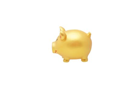 Golden pig piggy bank. Isolated on white.                                Stock Photo