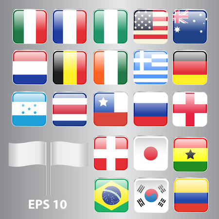 u s a: Set of Square-Shaped Flags World Top Countries Including Brazil, U S A , Germany, England, etc