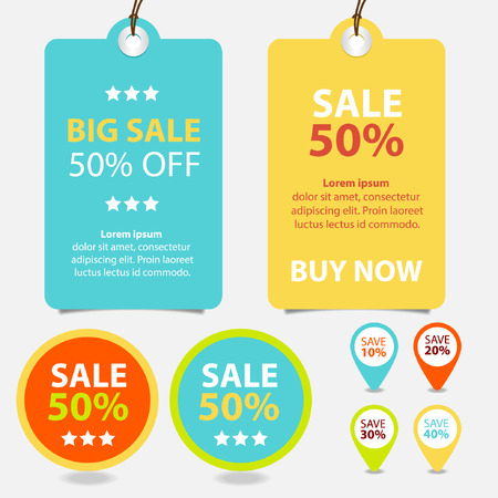 Price tags design, vector illustration. 向量圖像