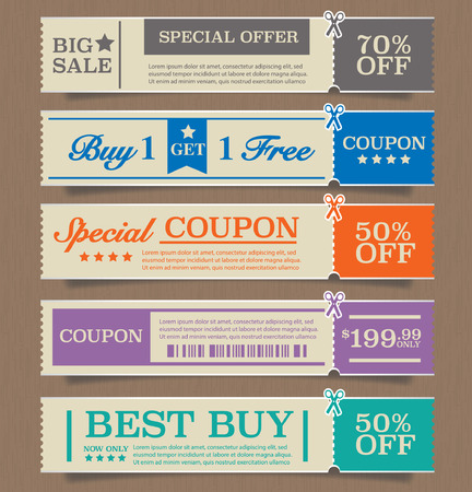 coupons: Price tags design, vector illustration. Illustration