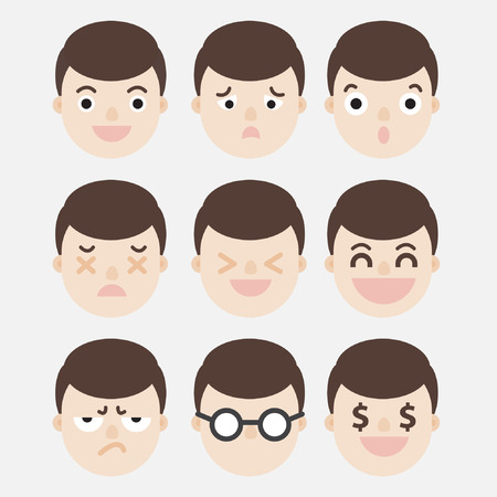 thoughtfulness: A Man Head Express Emotions : Happy, Surprised, Angry, Greedy etc.. Illustration