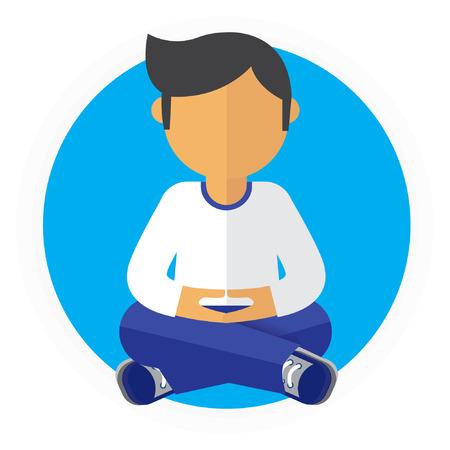 man meditating: A Man Sitting Meditating Quietly