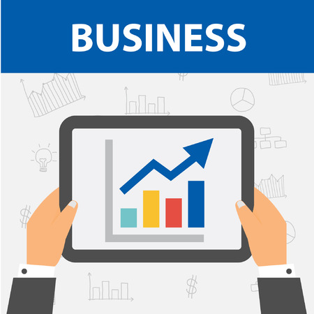 dashboard: Mobile Business Tablet with Dashboard with Businessman Hands