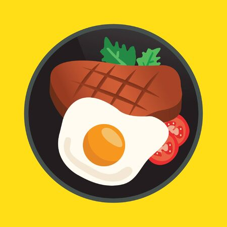 steak plate: Steak and Fried Egg in A Pan Illustration
