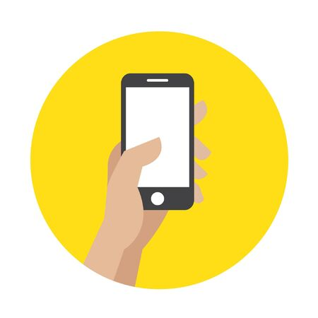 holding smart phone: Hand Holding Smart Phone on Yellow Background