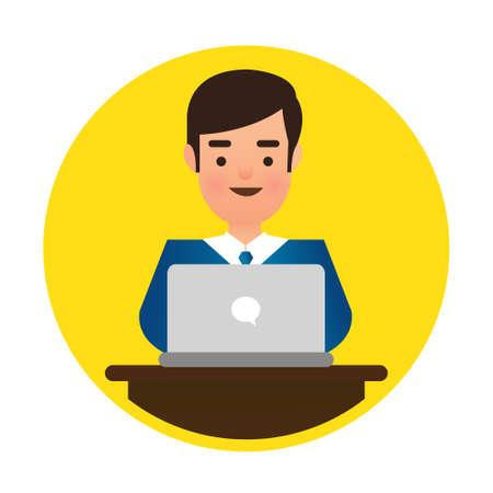 using computer: Man Wearing Blue Shirt Using Laptop Computer Illustration