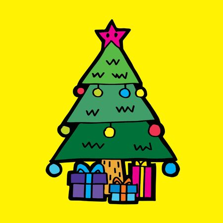 similar images: Preview Save to a lightbox  Find Similar Images  Share Stock Vector Illustration: Merry Christmas Cartoon: Christmas Tree with Presents in Yellow background