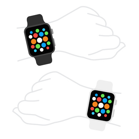 wristband: Smart watches wearable collection computer new technology. Illustration