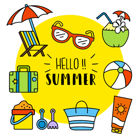 Cool Illustration Of Summer Activities Vector Vector