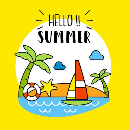 Cool Illustration Of Hello Summer Background. Vector Vector