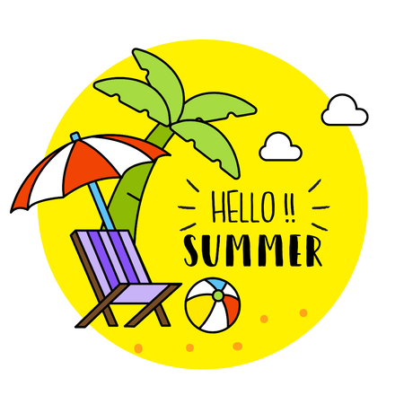Hello Summer Background Cool Illustration Vector