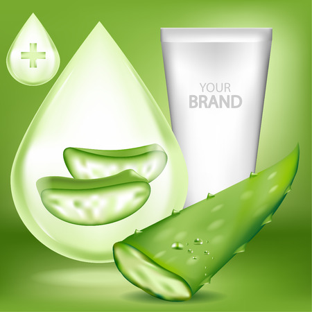 Aloe vera Cosmetic and blank package.Vector illustration