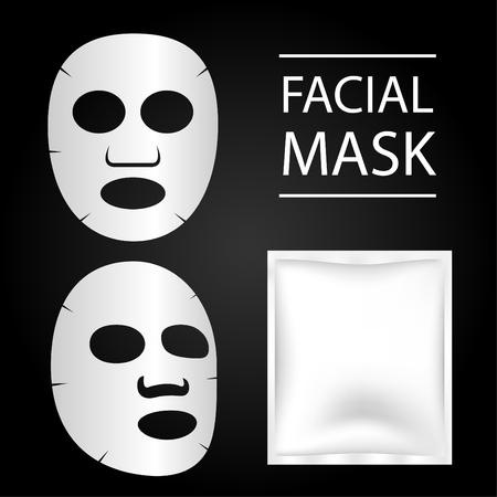 Máscara facial e pacote em branco. Ilustração do vetor Ilustración de vector