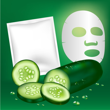 Cucumber Facial mask and blank package.Vector illustration