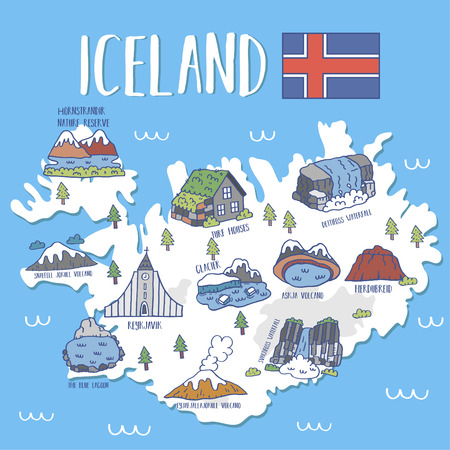 Iceland travel map .Vector illustration