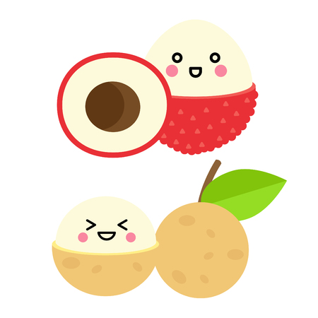 Set of cute fruit. Lychee, Longan with funny faces on white background