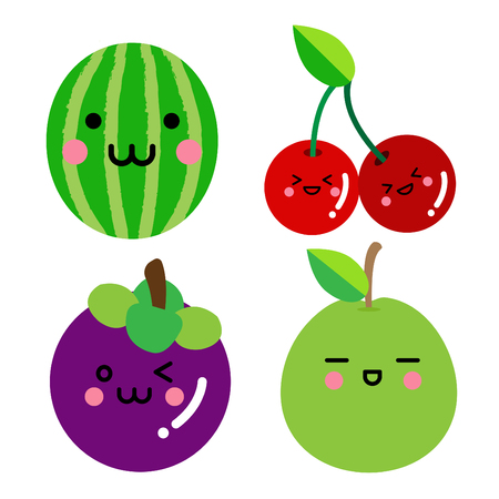 Set of cute fruit.Watermelon, Cherry, Mangosteen,Guava with funny faces on white background