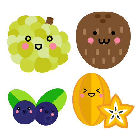 Set of cute fruit. Custard apple, Coconut, Blueberry, Starfruit with funny faces on white background
