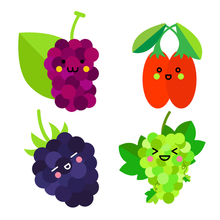 Set of cute fruit. Mulberry, Goji berry, Green grapes, Blackberry with funny faces on white background
