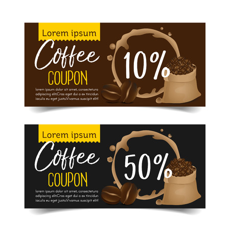 Discount Coupon design,Coffee coupon vector illustration. Иллюстрация