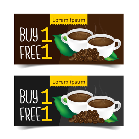 Discount Coupon design,Coffee coupon vector illustration. 일러스트