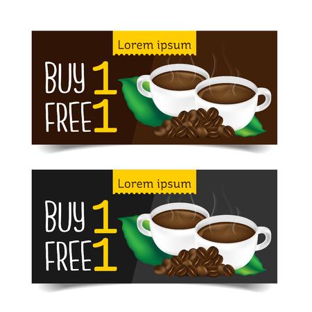 Discount Coupon design,Coffee coupon vector illustration. Stock Illustratie