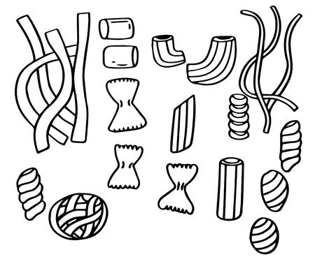 Hand drawn doodle set of Pasta. Illustration