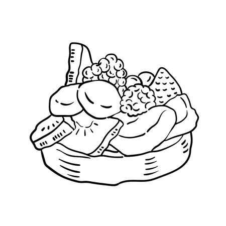 Hand drawn illustration of Cake.  イラスト・ベクター素材