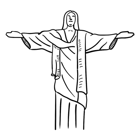 Hand drawn illustration of Jesus statue. Vectores